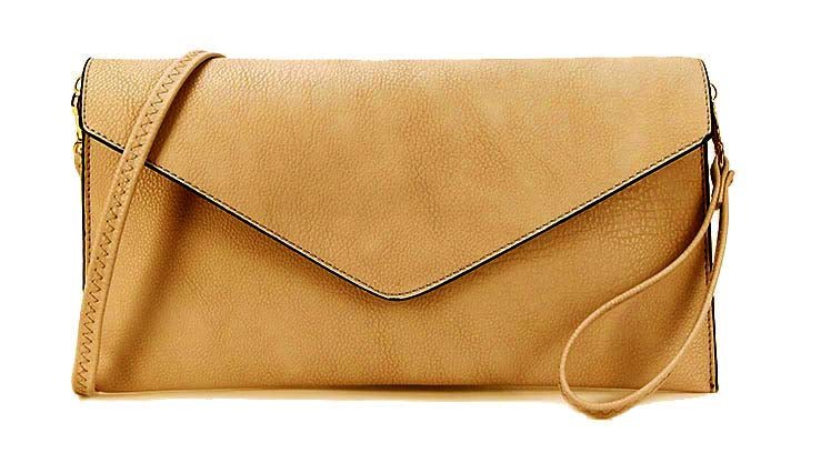 A-SHU CAMEL BEIGE OVER-SIZED ENVELOPE CLUTCH BAG WITH LONG CROSS BODY AND WRISTLET STRAP - A-SHU.CO.UK