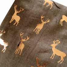 TAUPE BROWN LONG ROSE GOLD DEER SCARF