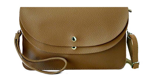 TAUPE ENVELOPE MULTI-POCKET CLUTCH BAG WITH WRISTLET AND LONG SHOULDER STRAP