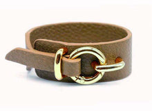A-SHU TAUPE GENUINE LEATHER WIDE CUFF BRACELET WITH BUCKLE CLOSURE - A-SHU.CO.UK