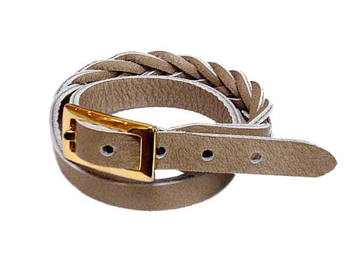 TAUPE GENUINE LEATHER WRAP AROUND WOVEN WRIST STRAP BRACELET