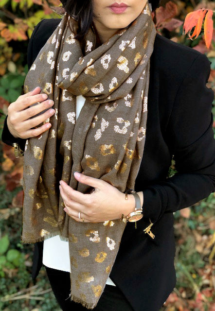 A-SHU TAUPE GREY METALLIC ROSE GOLD LEOPARD PRINT SCARF - A-SHU.CO.UK