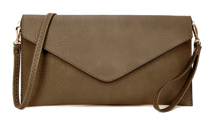 TAUPE GREY OVER-SIZED ENVELOPE CLUTCH BAG WITH LONG CROSS BODY AND WRISTLET STRAP