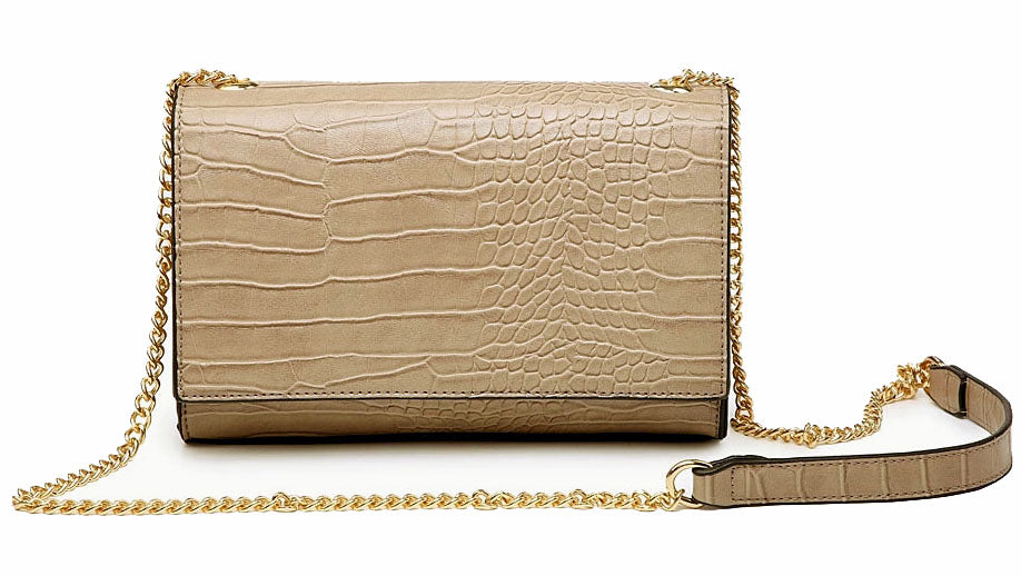 A-SHU TAUPE GREY SNAKESKIN CROSS BODY SHOULDER BAG WITH LONG GOLD CHAIN STRAP - A-SHU.CO.UK