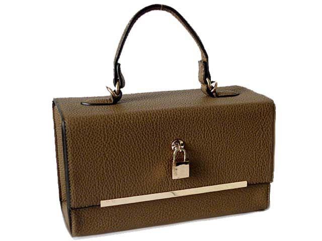 A-SHU TAUPE HARDBACK BOX SHOULDER BAG WITH PADLOCK DESIGN AND LONG STRAP - A-SHU.CO.UK
