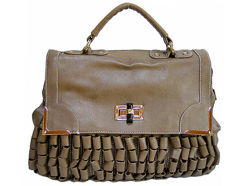TAUPE LEATHER EFFECT MULTI-COMPARTMENT SATCHEL HANDBAG WITH RUFFLE DESIGN