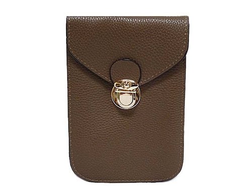 A-SHU TAUPE LEATHER EFFECT SLIM LINE PHONE POUCH / CROSS BODY BAG WITH LONG STRAP - A-SHU.CO.UK