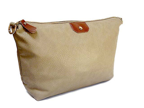 TAUPE LEATHER EFFECT TOILETRY / TRAVEL BAG