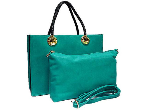 A-SHU TURQUOISE 2 PIECE BAG SET WITH DETACHABLE INNER BAG AND LONG STRAP - A-SHU.CO.UK