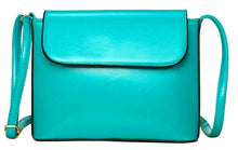 TURQUOISE BLUE PLAIN SATCHEL STYLE FAUX LEATHER CROSS BODY SHOULDER BAG