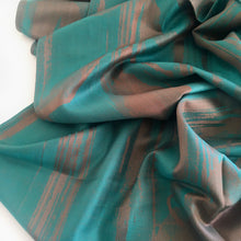 A-SHU TURQUOISE BRONZE REVERSIBLE PASHMINA SHAWL SCARF IN ABSTRACT FLORAL PRINT - A-SHU.CO.UK