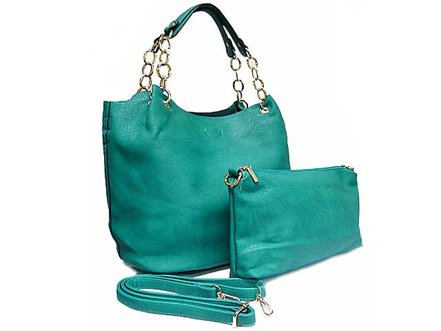 TURQUOISE CHAIN DESIGN TOTE HANDBAG SET WITH DETACHABLE INTERNAL BAG AND LONG STRAP