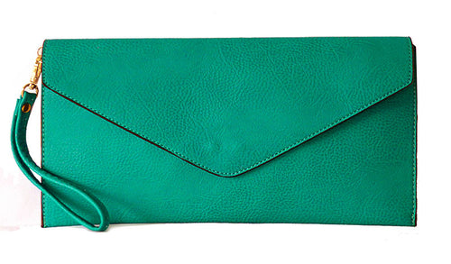 TURQUOISE OVER-SIZED ENVELOPE CLUTCH BAG WITH LONG CROSS BODY AND WRISTLET STRAP