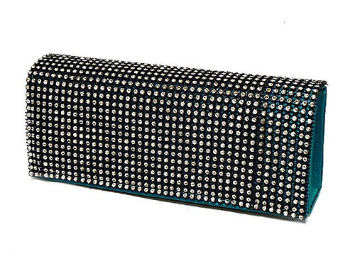 TURQUOISE SATIN DIAMANTE HARD BACK CLUTCH BAG