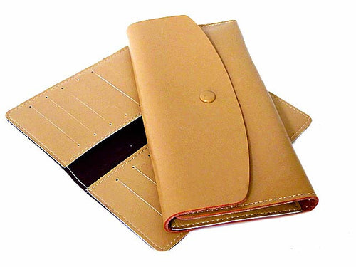 TWO-PIECE BEIGE GENUINE LEATHER SLIM PURSE WITH CARD WALLET