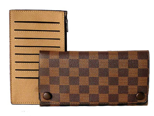 TWO-PIECE DESIGNER STYLE BROWN CHECKED TRAVEL WALLET / LARGE PURSE