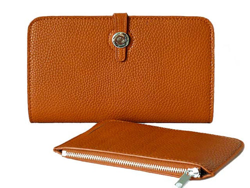 ORDER BY REQUEST - TWO-PIECE DESIGNER STYLE BROWN TRAVEL WALLET / LARGE PURSE