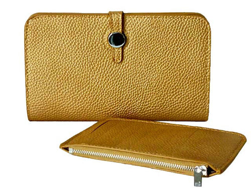 TWO-PIECE DESIGNER STYLE GOLD TRAVEL WALLET / LARGE PURSE
