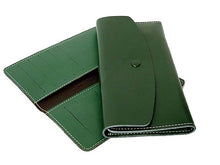 A-SHU TWO-PIECE GREEN GENUINE LEATHER SLIM PURSE WITH CARD WALLET - A-SHU.CO.UK