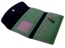 TWO-PIECE GREEN GENUINE LEATHER SLIM PURSE WITH CARD WALLET