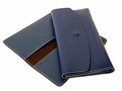 TWO-PIECE NAVY BLUE GENUINE LEATHER SLIM PURSE WITH CARD WALLET
