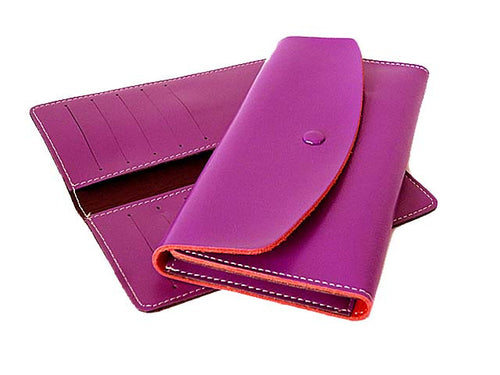 TWO-PIECE PURPLE GENUINE LEATHER SLIM PURSE WITH CARD WALLET