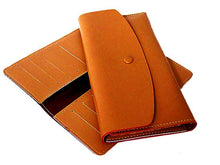 A-SHU TWO-PIECE TAN BROWN GENUINE LEATHER SLIM PURSE WITH CARD WALLET - A-SHU.CO.UK