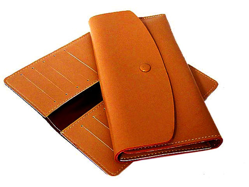 TWO-PIECE TAN BROWN GENUINE LEATHER SLIM PURSE WITH CARD WALLET