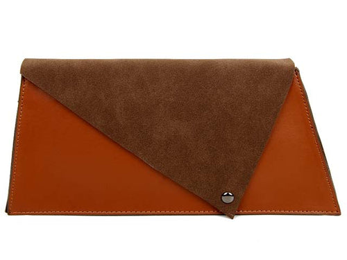TWO-TONE FAUX SUEDE A-LINE CLUTCH BAG WITH LONG SHOULDER STRAP - BROWN