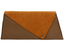 TWO-TONE FAUX SUEDE A-LINE CLUTCH BAG WITH LONG SHOULDER STRAP - TAUPE