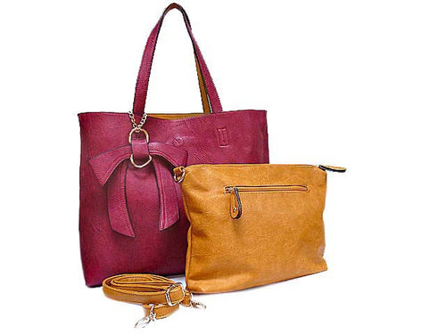 A-SHU TWO TONE WINE/MUSTARD TOTE BAG SET WITH INTERNAL BAG AND LONG SHOULDER STRAP - A-SHU.CO.UK