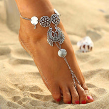 A-SHU VINTAGE ANTIQUE SILVER INDIAN INSPIRED COIN ANKLET / YOGA FOOT BRACELET - A-SHU.CO.UK