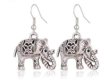 A-SHU VINTAGE SILVER HOLLOW CARVED ELEPHANT DROP EARRINGS - A-SHU.CO.UK