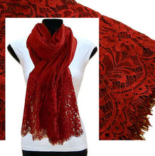 A-SHU LARGE VINTAGE RED LACE DETAIL LIGHTWEIGHT SCARF - A-SHU.CO.UK