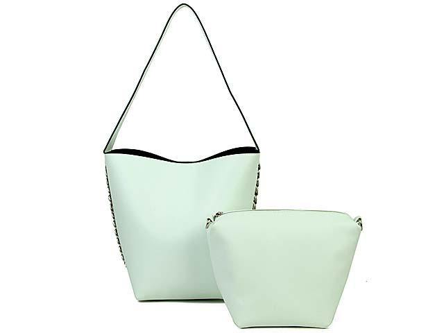 WHITE CHAIN SHOULDER BAG SET WITH SMALL CROSSBODY BAG AND LONG STRAP