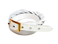A-SHU WHITE GENUINE LEATHER WRAP AROUND WOVEN WRIST STRAP BRACELET - A-SHU.CO.UK