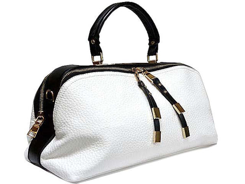 A-SHU ORDER BY REQUEST - WHITE LEATHER EFFECT MULTI-COMPARTMENT HANDBAG WITH LONG SHOULDER STRAP - A-SHU.CO.UK
