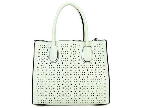 WHITE MULTI-COMPARTMENT CUT OUT SYMMETRIC HANDBAG WITH LONG STRAP