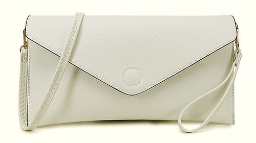 WHITE OVER-SIZED ENVELOPE CLUTCH BAG WITH LONG CROSS BODY AND WRISTLET STRAPS