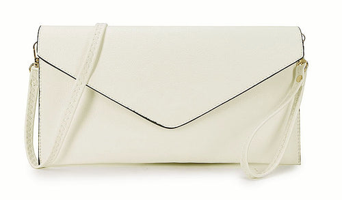 WHITE OVER-SIZED ENVELOPE CLUTCH BAG WITH LONG CROSS BODY AND WRISTLET STRAP