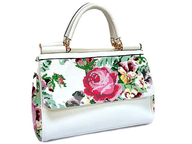 ORDER BY REQUEST - WHITE RETRO FLORAL HANDBAG WITH LONG SHOULDER STRAP