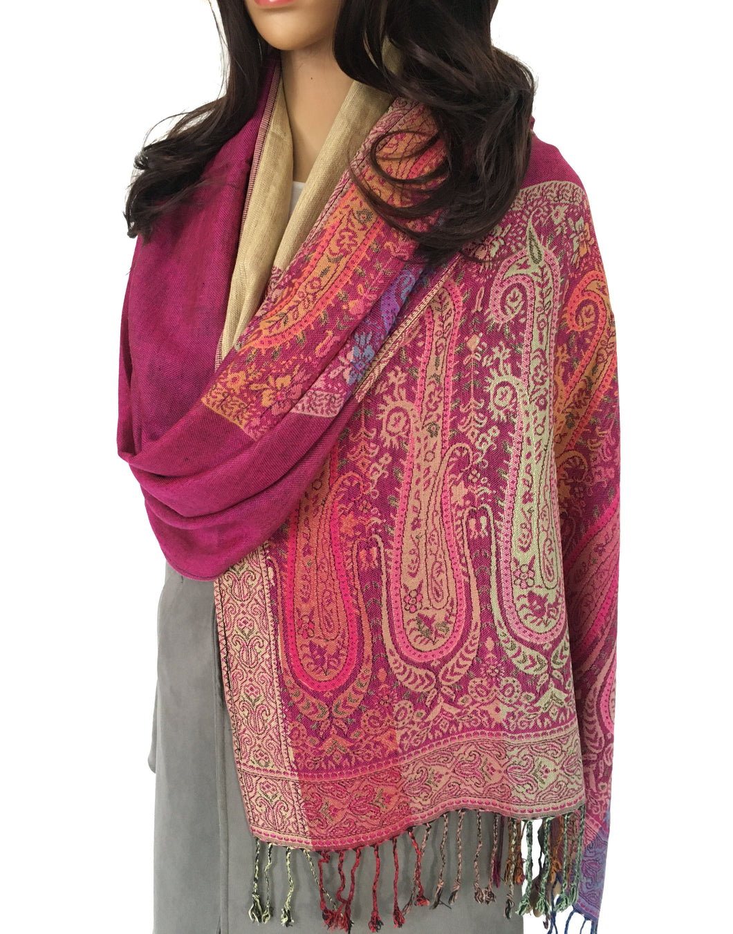 LARGE PINK RAINBOW MULTI COLOUR PAISLEY PRINT PASHMINA SHAWL SCARF