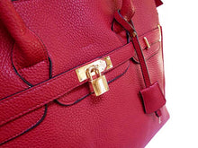 XXL DESIGNER STYLE RED TRAVEL HOLDALL HANDBAG WITH LOCK, KEY AND LONG STRAP