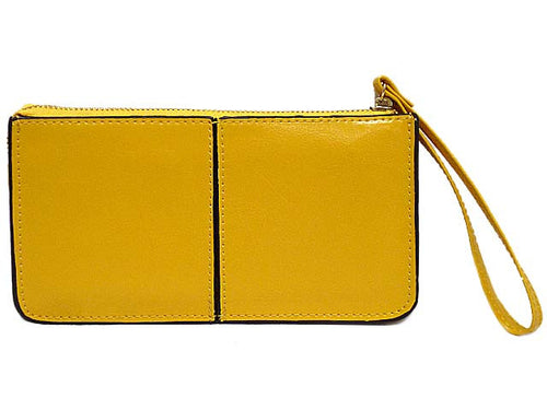 A-SHU YELLOW GENUINE LEATHER SLIM LINE MULTI-COMPARTMENT PURSE WITH WRIST STRAP - A-SHU.CO.UK