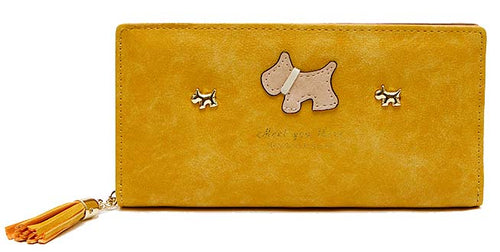YELLOW MULTI-COMPARTMENT DOG PURSE WALLET WITH TASSEL