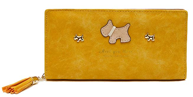 A-SHU YELLOW MULTI-COMPARTMENT DOG PURSE WALLET WITH TASSEL - A-SHU.CO.UK