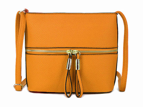MUSTARD YELLOW MULTI COMPARTMENT CROSSBODY BAG WITH LONG STRAP