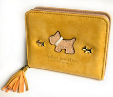 A-SHU SMALL YELLOW BI-FOLD DOG WALLET COIN PURSE WITH TASSEL - A-SHU.CO.UK
