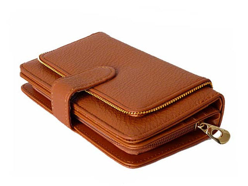 ORDER BY REQUEST - ZIP DESIGN BROWN MULTI-COMPARTMENT PURSE