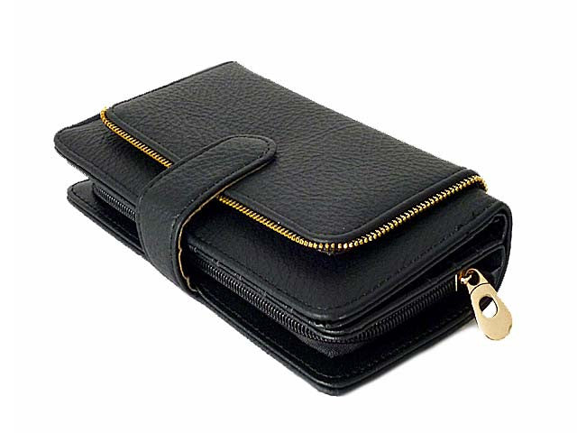 A-SHU ZIP DESIGN BLACK MULTI-COMPARTMENT PURSE - A-SHU.CO.UK